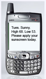 Weather report and sunscreen reminder