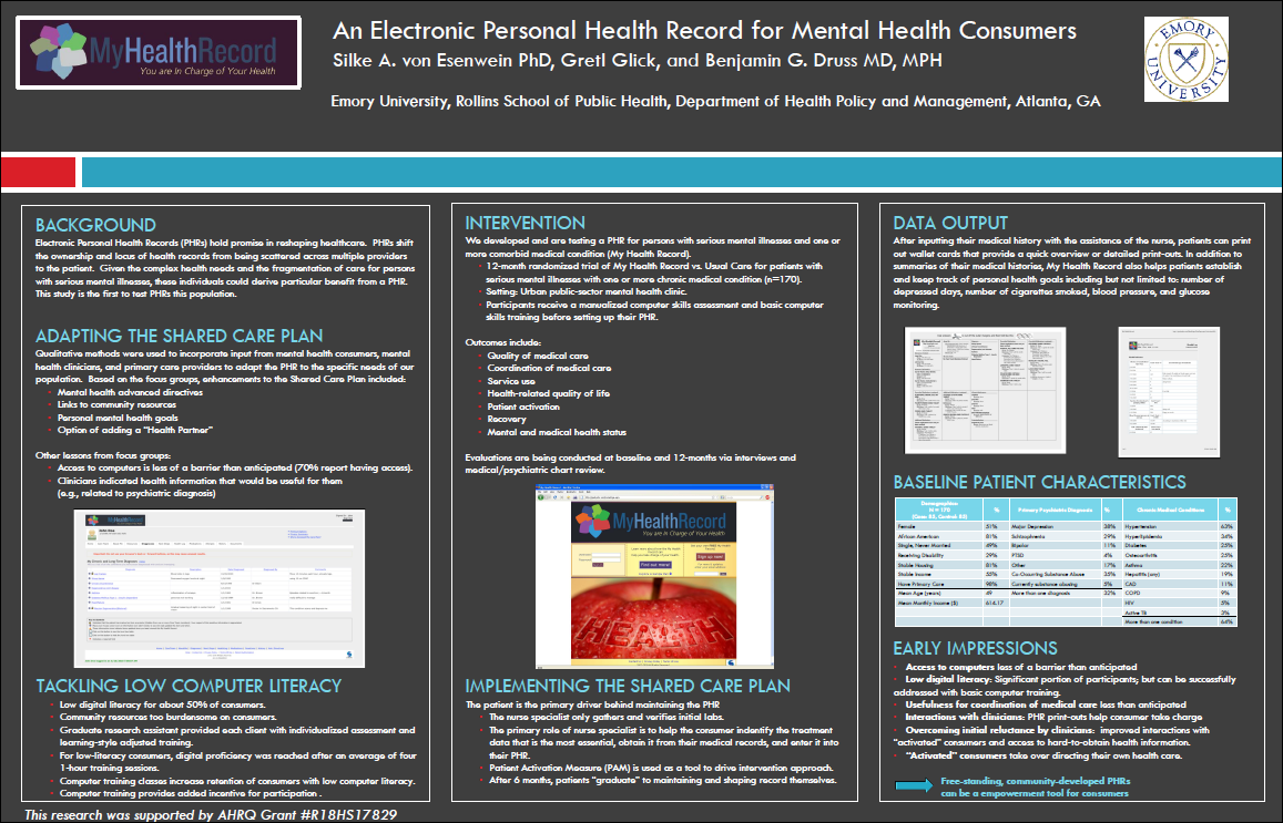 Safety net populations do benefit from online PHRs: poster at ICSI/IHI Colloquium