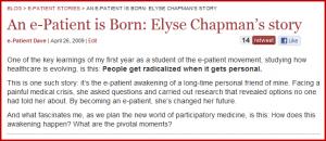 Screen capture of Elyse's 2009 post