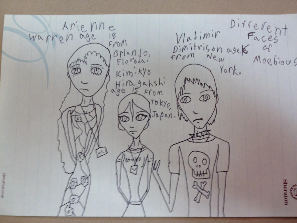 A drawing of 3 teenagers