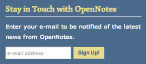 Screen capture of OpenNotes signup form