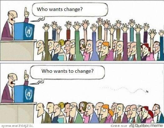 """Speaker saying to audience """"Who wants change? Who wants to change?"""""""