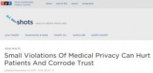 Screen capture of NPR Shots blog post