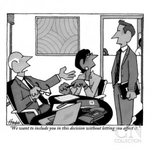 New Yorker william-haefeli-we-want-to-include-you-in-this-decision-without-letting-you-affect-it-new-yorker-cartoon