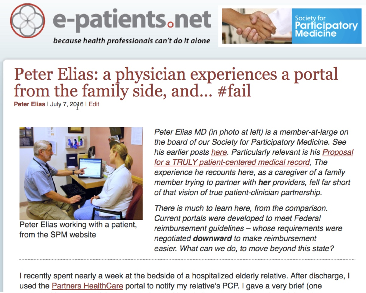 Peter Elias: a physician experiences a portal from the