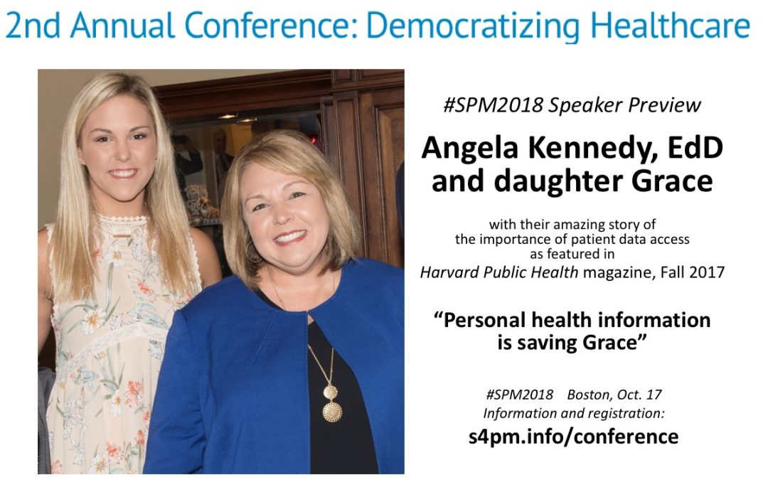 """#SPM2018 speakers @_AngelaKennedy and daughter Grace: """"Personal Health Information is Saving Grace"""""""