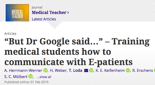 """""""Training medical students how to communicate with E-patients"""""""
