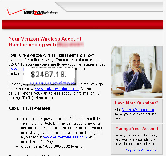 My $2467 Verizon Wireless bill