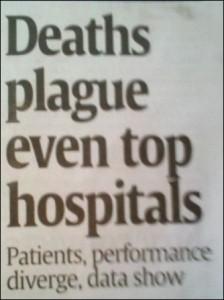 """Headline: """"Deaths plague even top hospitals"""""""