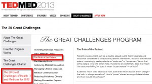 TEDMED Great Challenge: Role of the Patient
