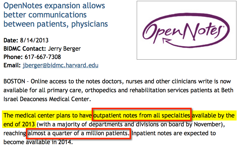 OpenNotes expands - BIDMC outpatient