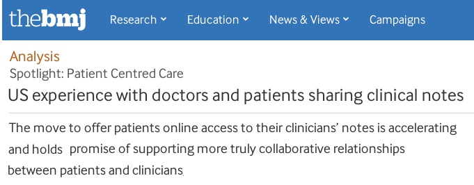 Screen capture of BMJ OpenNotes article