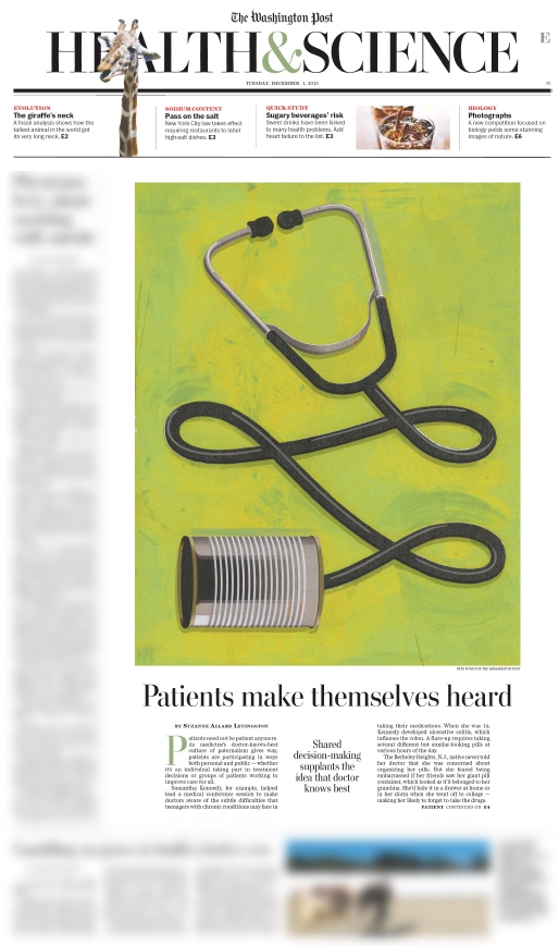Screen capture of front page of health section
