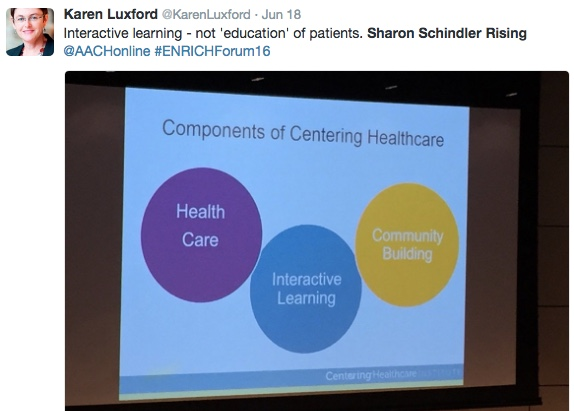 """@KarenLuxford tweet about Rising's slide: """"""""Interactive learning - not 'education' of patient"""""""