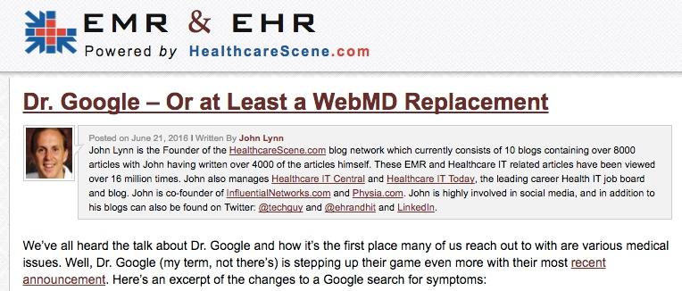 EMR and EHR screen capture Google Mayo Harvard story