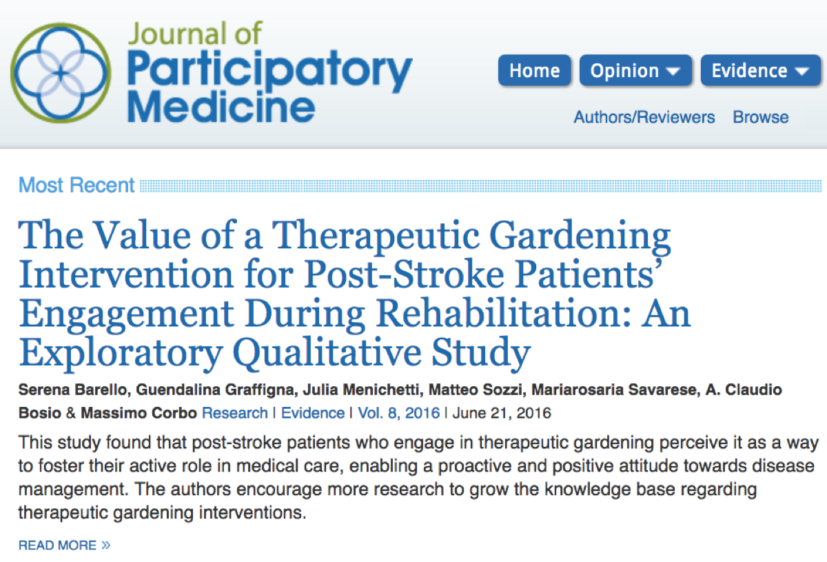 The Value of a Therapeutic Gardening Intervention for Post-Stroke Patients' Engagement During Rehabilitation screen capture